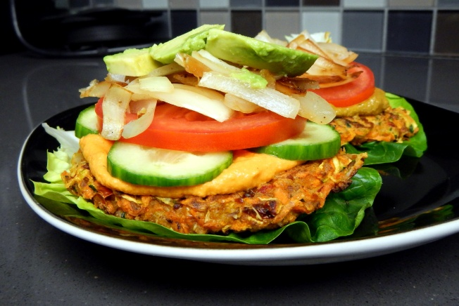 zucchini cakes with all the fixins!!
