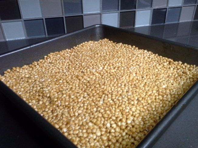 low glycemic, gf, soy free and vegan caramel puffed millet