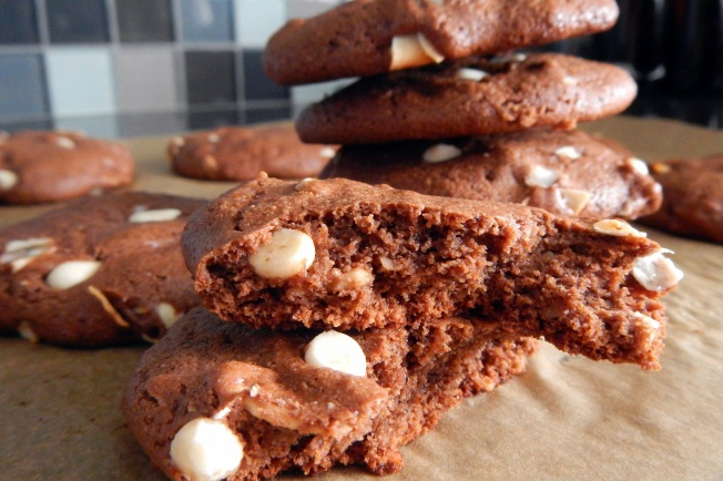 Vegan Gluten Free Chocolate Cookies with white chocolate chips coconut flakes and almonds. Low GI