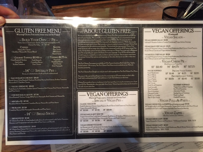 vegan gf menu