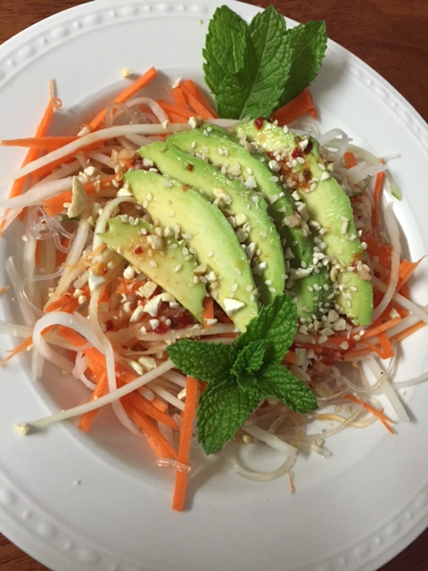 Vegan GF Green Papaya Salad with Kelp Noodles